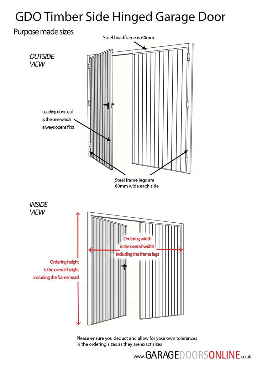 GDO Purpose Made Timber Side Hinged Garage Door Measuring Guide