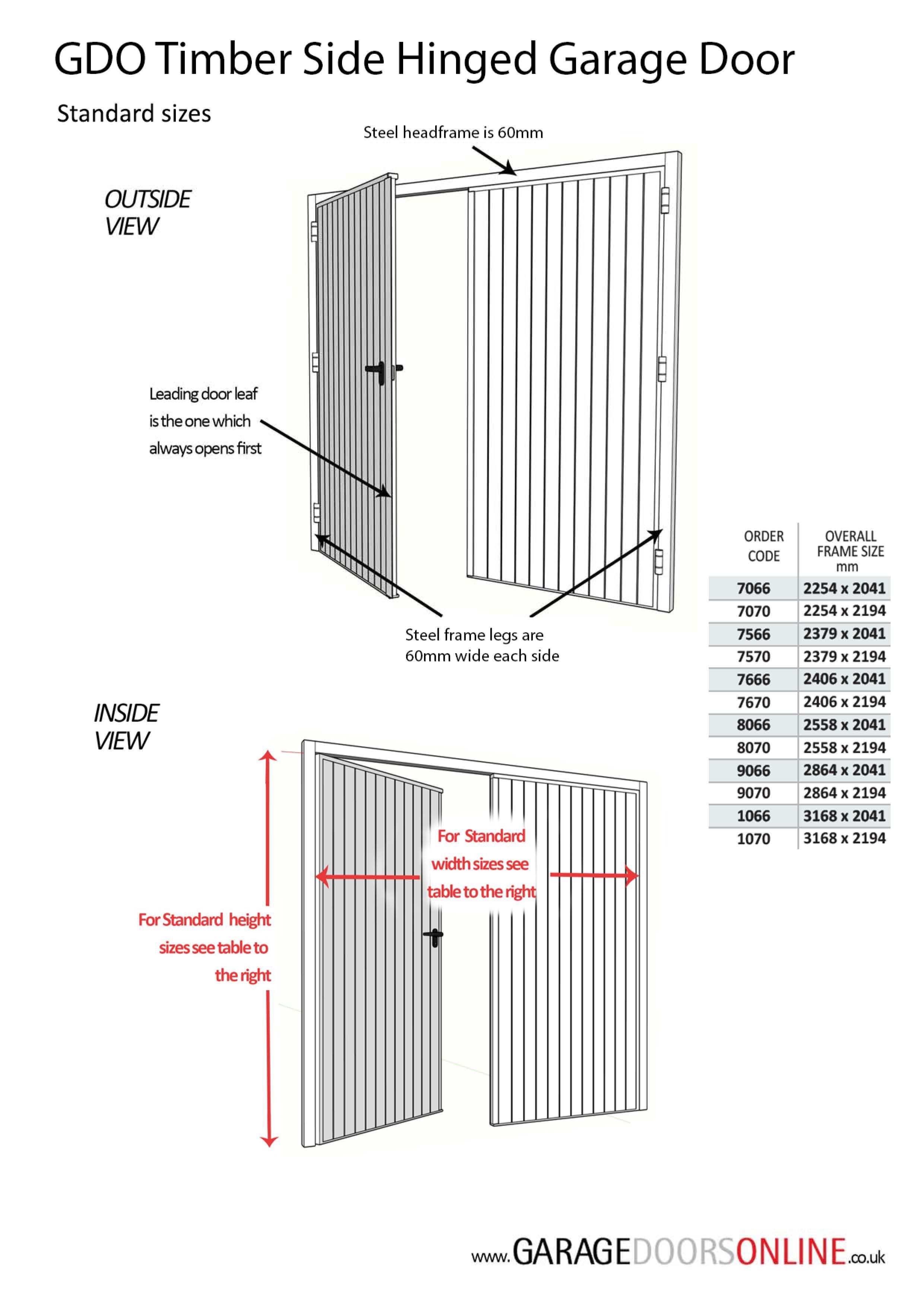 GDO Standard size Timber Side Hinged garage door Measuring Guide