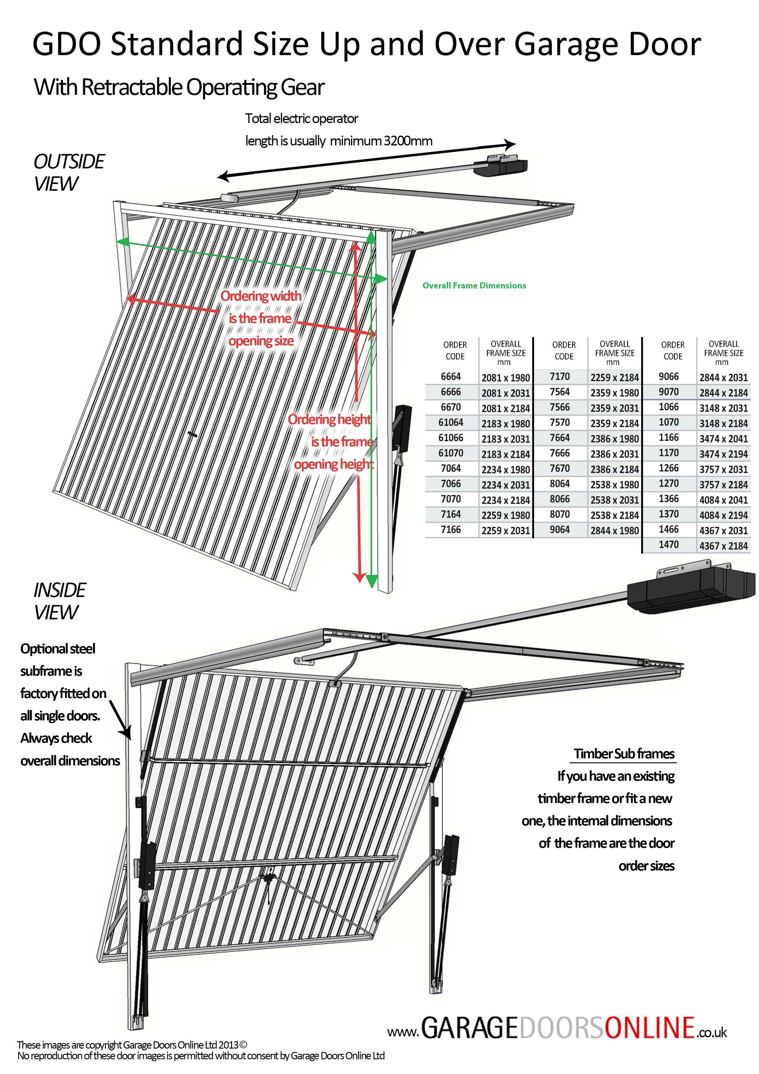 GDO Retractable Up and Over garage door Measuring Guide