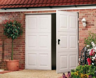 Side hinged steel garage doors
