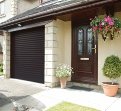 Gliderol Roller Shutter Garage Door In Brown With Matching Front Door ...