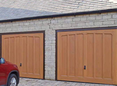 Hormann GRP pair of up and over garage doors