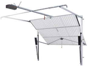 retractable garage door with operator attached to boom