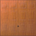 Hormann georgian up and over steel garage door in decograin golden oak - wood effect