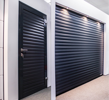 Matching personnel and roller garage door