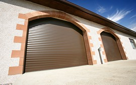 insulated roller doors in brown
