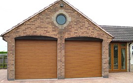 roller shutter garage doors in golden oak