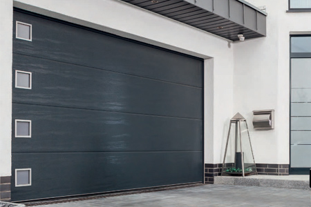 Carteck sectional garage door with square windows