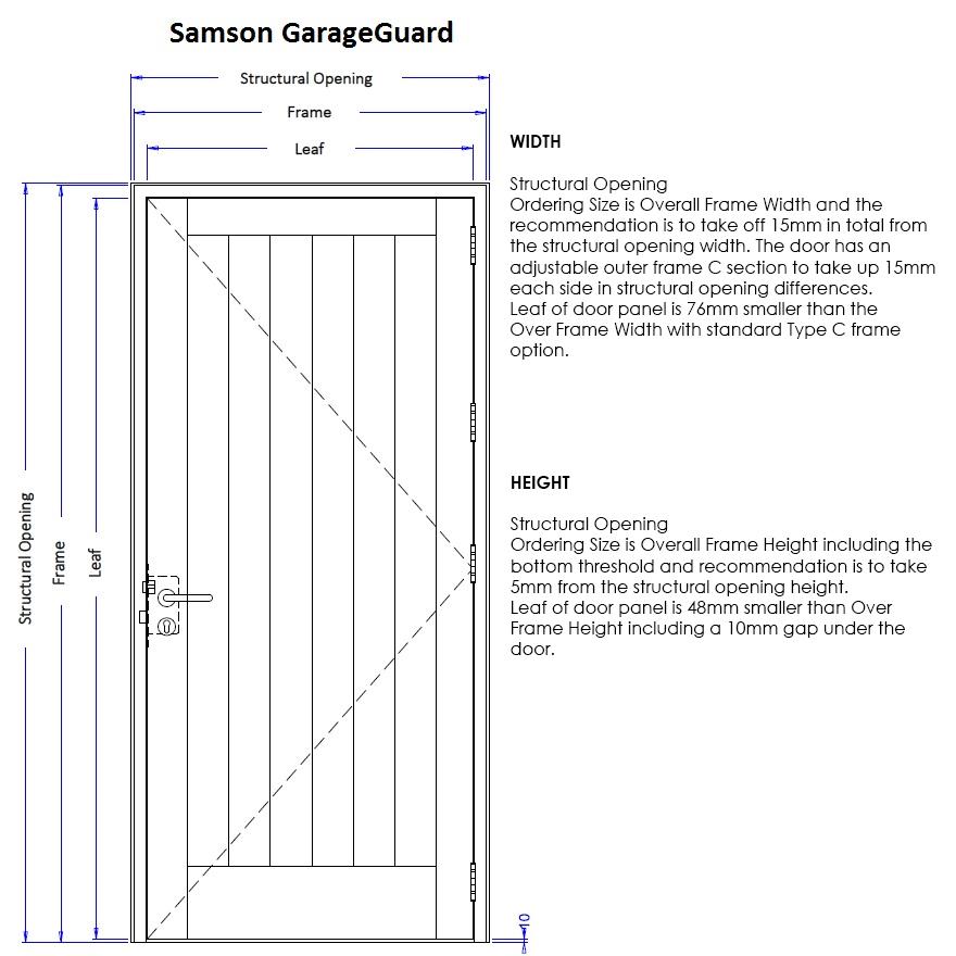 Samson GarageGuard Personnel Door Measuring Guide