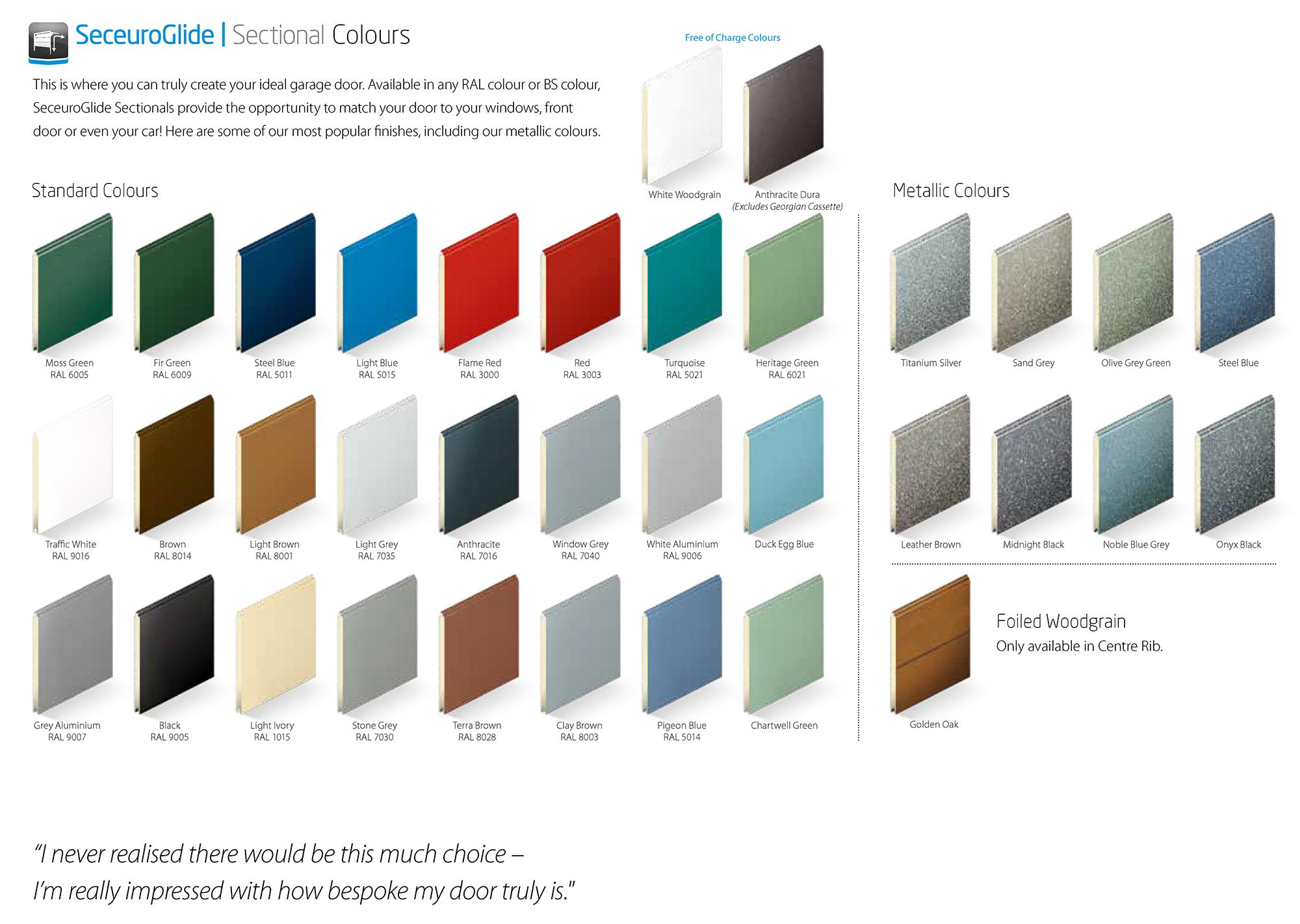 SWS Seceuroglide Sectional Garage Door Colour Chart