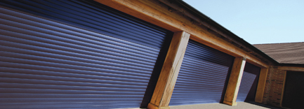 Blue double thermaglide roller doors