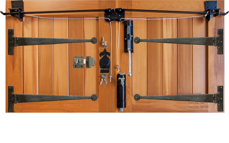 Traditional timber garage door furniture