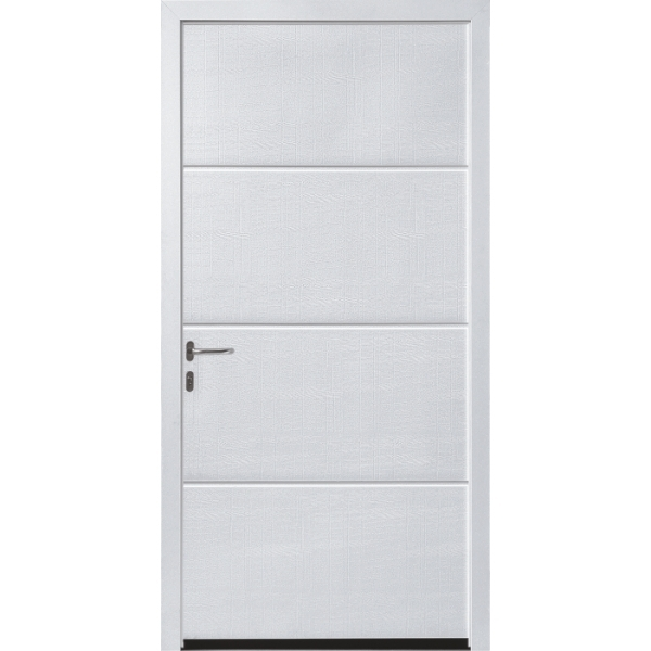 Hormann NT60 L Ribbed Silkgrain White Pedestrian Doors with Block Frame (fit in reveal)