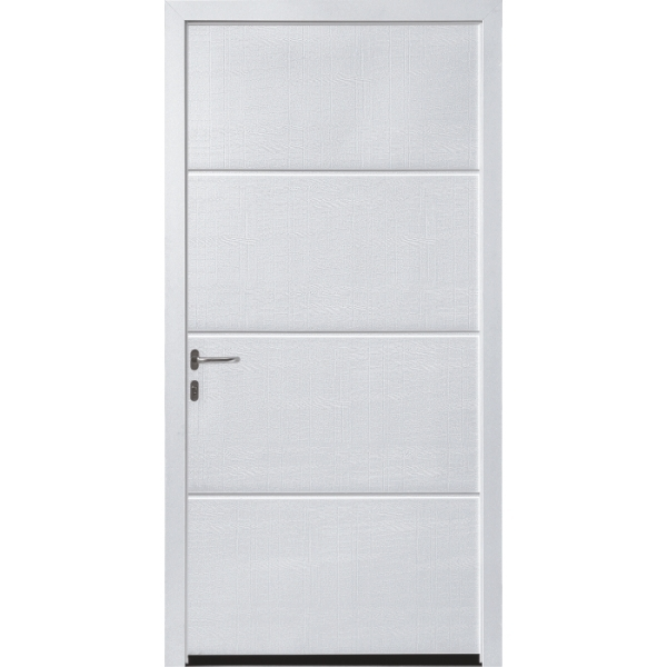Hormann NT60 L Ribbed Woodgrain White Pedestrian Doors with Block Frame (fit in reveal)
