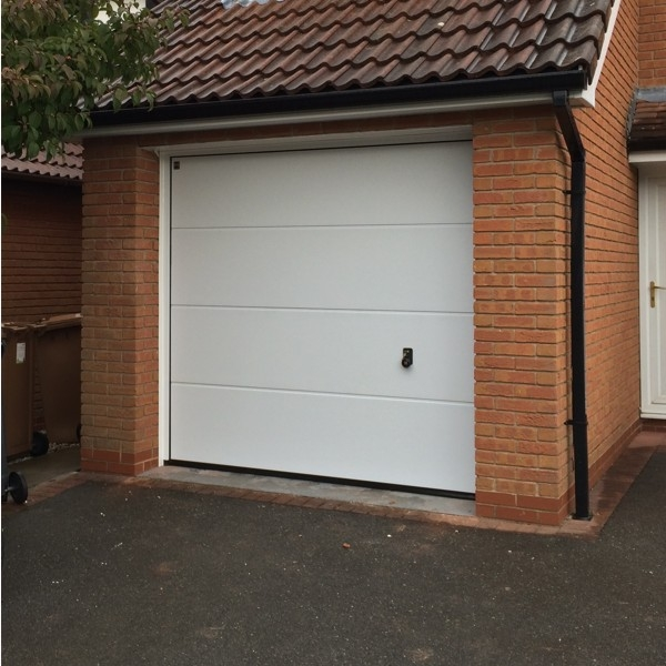 Sectional Garage Doors Product : Hormann lpu l ribbed silkgrain white single