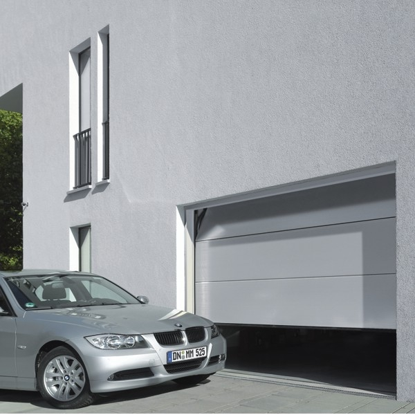 Hormann Sectional L Ribbed Garage Door In Anthracite Grey: Hormann LPU42 L Ribbed Micrograin White (double) Hormann