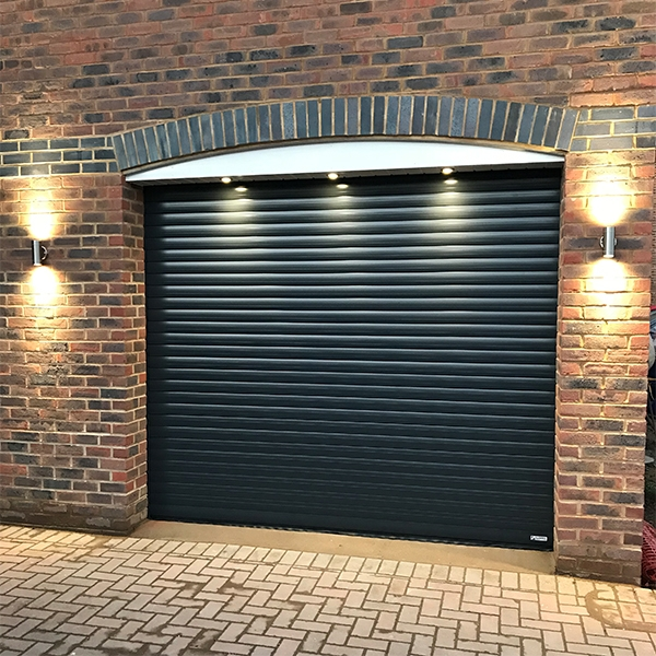 Gliderol Roller Door with Full Hood and Colour Paint Finish Aluminium on