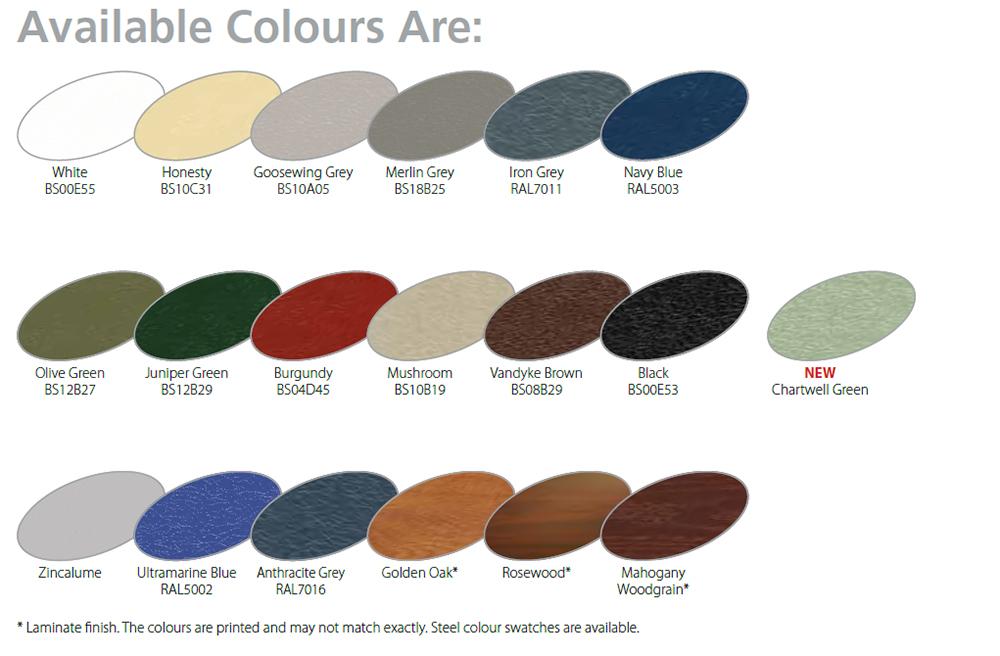 Roller door colours for Gliderol