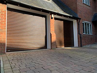 SeceuroGlide woodgrain effect roller shutter garage doors